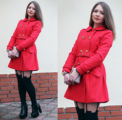Viktoria Vyshnykova - Asos Coat, Oodji Purse, House Of Holland Tights, My1stwish Shous - Lady in Red