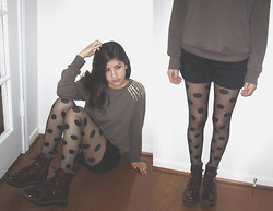 "Giovanna C. - Gold Shoulder Sweater, Black Shorts, Spotted Nylons, Dr. Martens Red Doc Fake - ""Goodbye"", that's all she wrote"