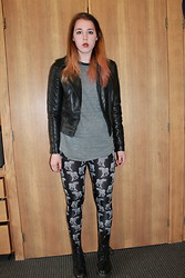 Lauren S. - Express Leather Jacket, Urban Outfitters Tee, H&M Leggings, Dr. Martens Doc - Tell 'Em