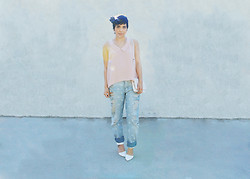 Yuka I. - Sugarlips Top, Vintage Scarf, Cheap Monday Bag, Asos Polkadot Boyfriend Jeans, Chicnova White Pumps - Pastels for easter