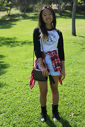 Shirley M - Jawbreaking Baseball Tee, High Waisted Shorts, Forever 21 Red Flannel, Forever 21 Studded Bag - A Hiking Effort