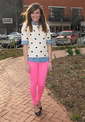 Niki Adams - J. Crew Top, J. Crew Top, Abercrombie And Fitch Pants, Wal Mart Shoes - Hot Pink.