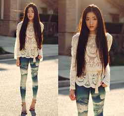 Jennifer Wang - Awwdore Lace Applique Top, Lovelysally Pure Cold Leggings, Nine West Nude Ankle Strap Pumps - BELOW ZERO