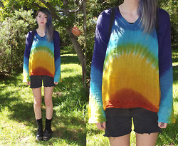 Freya C - Thrifted Rainbow Shirt, Cut Off Shorts, New Rock Boots - RAINBOW