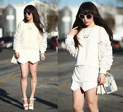 Ivy Xu - Zara Shorts, Aldo Platforms - Blooming white out