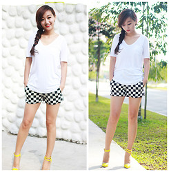 Belva P - Zara Shorts, Christian Louboutin Heels - Easy checker style