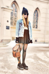 Lokas B - Stadium Cap, H&M Sunglasses, Jacket, Urban Outfitters Body, River Island Skirt, Bag, Creepers - Denim