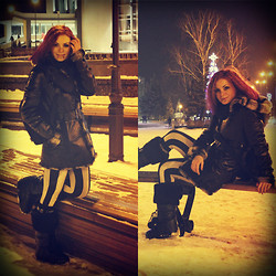 Victory Heresy (myLady-Victory) - Ilenana Moon Boots, Ece Coat, Tonika Hair Dye, Striped Leggins, Bag, Make Up With Lenses - Winter and snow