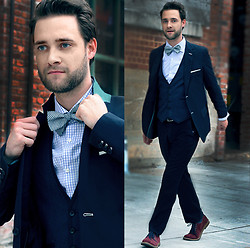 Kris M - Ash Footwear Bow Tie, Aldo Suede Shoes, Sons Of Intrigue Navy Suit, Hugo Boss Blue & White Shirt - I'm More Than A Bird, I'm More Than A Plane