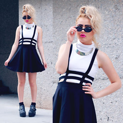 Bebe Zeva - Swaychic Sus To Death Dress, American Apparel White Cropped Turtleneck, Yes Style Ankle Boots - DYSMORPHEUS