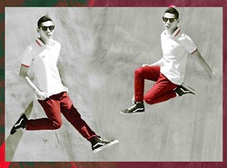 Renz C - Ray Ban Wayfarers, Fred Perry Polo Shirt, Giordano Red Jeans, Vans Hi Sk8 - Blood Shot