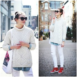 Paulien R - H&M Sunglasses, Zara Jumper, Sheinside Denim Shirt, Blanco Ripped Jeans, Converse Red Sneakers - Whites & red kicks