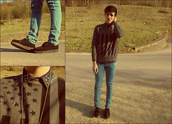 Melik D - Bershka Coloured Skinny Jeans, Asos Creepers, H&M Denim Shirt, Primark Sweater With Rivets - STARS AND STRIPES