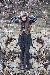Nadia H - H&M Chiffon Dress, Ark Tie Dye Turtle Neck, Dr. Martens Purple Metallic Boots - Snow Blossom