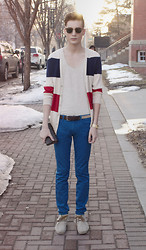 Andrew Eirich - H&M Striped Cardigan, Topman Tank, Zara Pants, Zara Suede Mocassins, Louis Vuitton Wallet, Simons Sunglasses - Twenty-One.