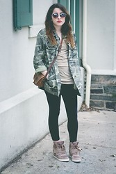 Alexis Nigro - Nine West Wedge Sneakers, Forever 21 Studded Camo Jacket, Urban Outfitters Heart Shaped Sunglasses, Timberland Vintage Bag - Camouflaged