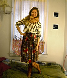 Natalie Scarlett - $5 Pashmina, Striped Sweater, Thrifted Mid Length High Waist Floral Paisley Skirt, Wrangler Cowgirl Boots - Spring Cowgirl?
