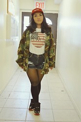 Jill Cabalquinto - Supreme 5 Panel Hat, Thrifted Camo Jacket, Made For Our Blog Rad Shirt, Jordans Bred 11's - R A D