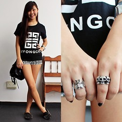 Ellena Young - Giyongchy Printed T, Unif Hellraisers, Topshop Zipper Bag - Too young, too dumb to realise