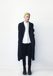 Joachim Kullberg - H&M Yellow Beanie, Second Hand Coat, H&M Shirt, Sewed By Me Pants, Dr. Martens Boots - Black coat white shirt