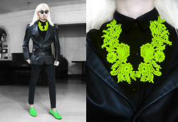 Andre Judd - Extremefinds Neon Lace Neckpiece, Vintage Power Shoulder Leather Blazer, Leather Obi Sash, Cropped Trousers, Everybodyneedsapair Neon Loafers, Prettylitlefinds Flip Frames - NEON LACE