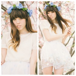 Zoë Harvey - Creature Of Habit Blue Floral Crown, Vintage White Dress, Zozo Skirt - Blue roses (creature of habit)