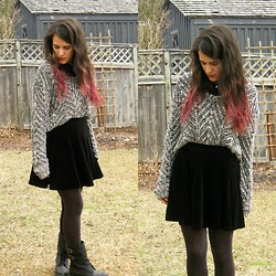 Stephanie Blinn - H&M Sweater, H&M Velvet Skirt, Aldo Boots - Sometimes Serendipity Is Just Intention Unmasked