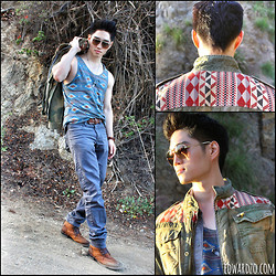 Edward Z. - Scotch&Soda Printed Camo Jacket, Obey Printed Tank, Dior Homme Gradient Shades, Similar Here: Distressed Boots - The Canyons