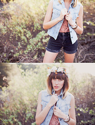 Dani Roxanne - Guess? Vintage Denim Vest, Urban Outfitters Lace Tank, Bdg High Waisted Shorts - My Summer Uniform