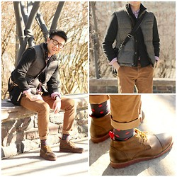 C. L. - Zara Down Quilted Vest, John Varvatos Knit Jacket, Joe Fresh Checkered Button Down Shirt, Zara Cord Pants, Fred Perry Sling Bag, J. Crew Polkadot Socks, Hawkings & Mcgill Lace Up Boots - Spring Forward