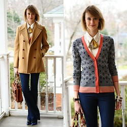 E Maille - Ginger Root Design Lady Tie, Ann Taylor Button Down, Tory Burch Cardigan, Vintage Coat, J Brand Jeans, Bally Bag, Hermës Bangles, Zara Heels - In sync