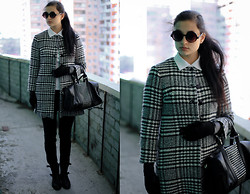 Vitaliya Nadezhdina - Red Valentino Wool Coat, Tory Burch Polo, Asos Round Sunnies, Mango Boots, Mango Bag - B&W Evolution Revolution Love