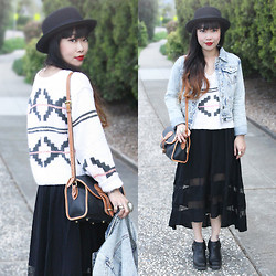Toshiko S. - Jeffrey Campbell Rumi Boots, Forever 21 Boater Hat, Thread & Supply Acid Wash Denim Jacket, Liz Wear Vintage Tribal Print Sweater, Dooney & Bourke Vintage Two Tone Leather Handbag, Nameless Sheer Paneled Fishtail Dress - Spring Layering