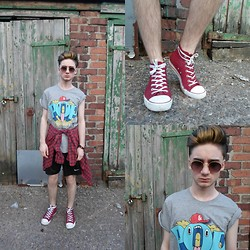 Mark Alex Powell - Pull & Bear Pop Culture Tshirt £3.99, Thrifted Flannel Shirt £1, New Look Baseball Pump £8, Car Boot Sale Vintage Sunglasses 50p, Nike Shorts £1 - Pop Culture