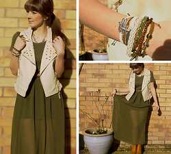 Tasha Hinde - Mee {Dot Com} Khaki Sheer Dress, New Look Studded Gilet, Primark Bracelets, Fashion Union Tan Boots, Cow Vintage Eye Necklace - Greatest Lengths