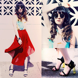 Rachel-Marie Iwanyszyn - Ray Ban Rayban Sunglasses, Romwe Colorful Blouse, Romwe Red Flowy Skirt, S E N O Heels, Cuff, Http://Www.Jaglever.Com - LIVING IN COLOR.