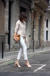 Victoria A. - Ikks Beige Knit Sweater, Ikks White Skinny Jeans, Zara Bicolor Sandals, Diy Lunch Leather Bag - White + Nude