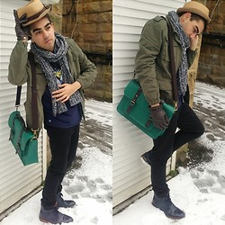Umar Iqbal - Ted Baker Emerald Green Satchel, Topman Khaki Jacket, H&M Thick Wooly Scarf, Zara Straw Hat, Zara Brown Leather, Topman Black Skinny Jeans, Zara Hybrid Shoe, Chunk Alice Graphic Tee - 'Preppy Gentleman' Spring Street Style
