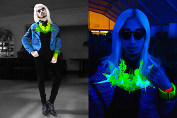 Andre Judd - Miadore By Yek Balingit Acrylic Futuristic Neckpiece, Extremefinds Neon Lace Neckpiece, Prettylittlefinds Flipframes, Tweed Coat, Patent Ankle Pointed Booties, Miadore By Yek Balingit Acrylic Cuff - GLOW IN THE DARK