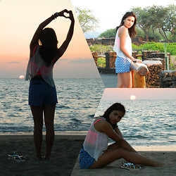 Desiree Atienza - Forever 21 See Through Top, Zara Metallic Flats, Forever 21 Scarf Shorts, Victoria's Secret Lace Show Off Bustier - All about the sunset