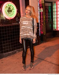 Amanda Del Duca - Wasteland Sweater, Leather Pants, Heeled Sandals - The Main Event