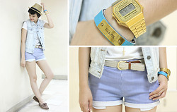 Bea Benedicto - The Bead Shop Relax Bracelet, Unica Hija Striped Shorts, Sebago Brown Boat Shoes, Straw Fedora - Chill Pill