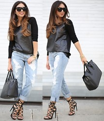 Daniela Ramirez - Shoedazzle Lace Up Heels, Dittos Boyfriend Jeans, Romwe Leather Top, Zerouv Sunglasses - Minimal leather...