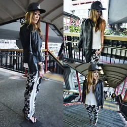 Christing Chang - Maurie & Eve Ruby Track Pant, Versace Leather Jacket, H&M Hat, H&M Knit Tank, Steve Madden Heels - Before you wake
