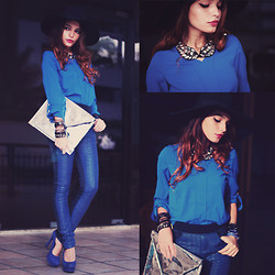 Alana Ruas - Sheinside Shirt, Choies Pants, Choies Bag, Romwe Collar Fake Diamonds, Kafé Acessórios Bracelets - MONOBLUE