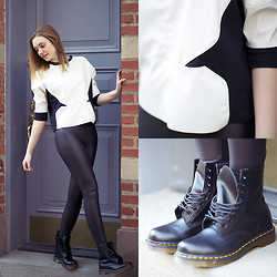 Epoxy Blanc - Zara Black And White Top, Dr. Martens Doc, Urban Outfitters Leather Leggings - Girl Next Door