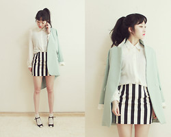 Lan Choi - Artfit Amil Pastel Color Collar Contrast Jacket, Artfit Monot Metal Capped Collar Shirt, Artfit Sohey Mary Jane Peep Toe Heel, Artfit Dinly Striped Mini Skirt - Fresh Mods look by ARTFITSHOP