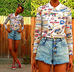 Luna Nova - Vintage Racetrack Printed Shirt, Vintage & Diy High Waist Acid Wash Cut Offs, Thrifted Red Sneakers - Vroom Vroom