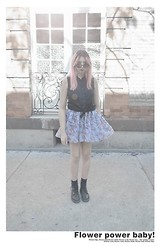 Sally Roussó - Black Sunglases, American Apparel Sleeveless Lawn Button Up, American Apparel Floral Chiffon Skirt, Dr. Martens Dear Boots - Flower power baby!