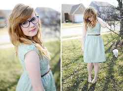 Violet Short - Ditto Glasses, Shabby Apple Dress, Mac Lipstick, Forever 21 Belt, Unknown Shoes - Easter Style